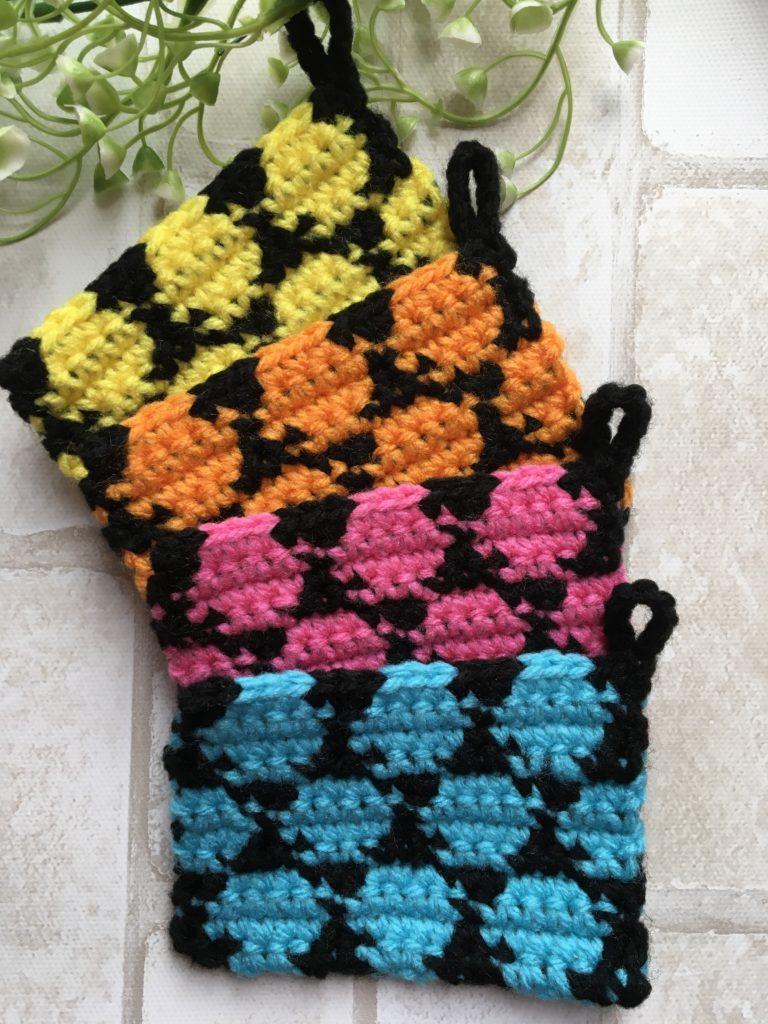 アクリルたわし ドット編み込み 編み方
