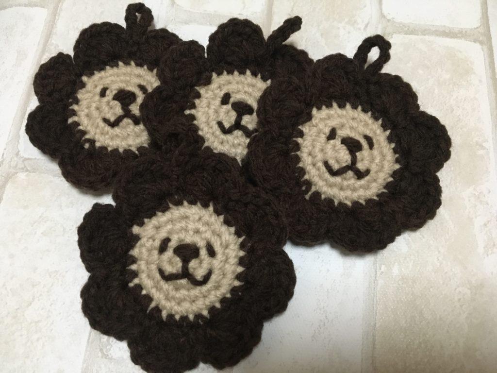 ライオンのアクリルエコたわしの編み方(茶色×ベージュ)