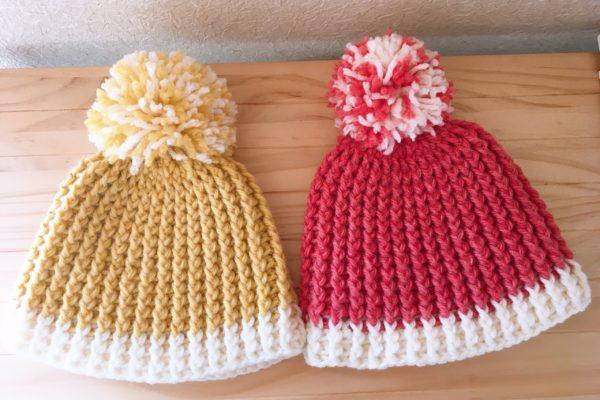 セリアの毛糸で編んだ子供用のニット帽