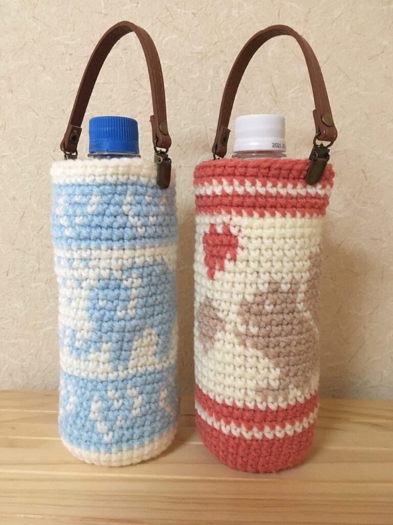 ペットボトルカバーを動物の編み込み模様で編みました