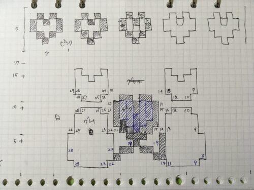 ネコちゃんとハートの編み込み模様図