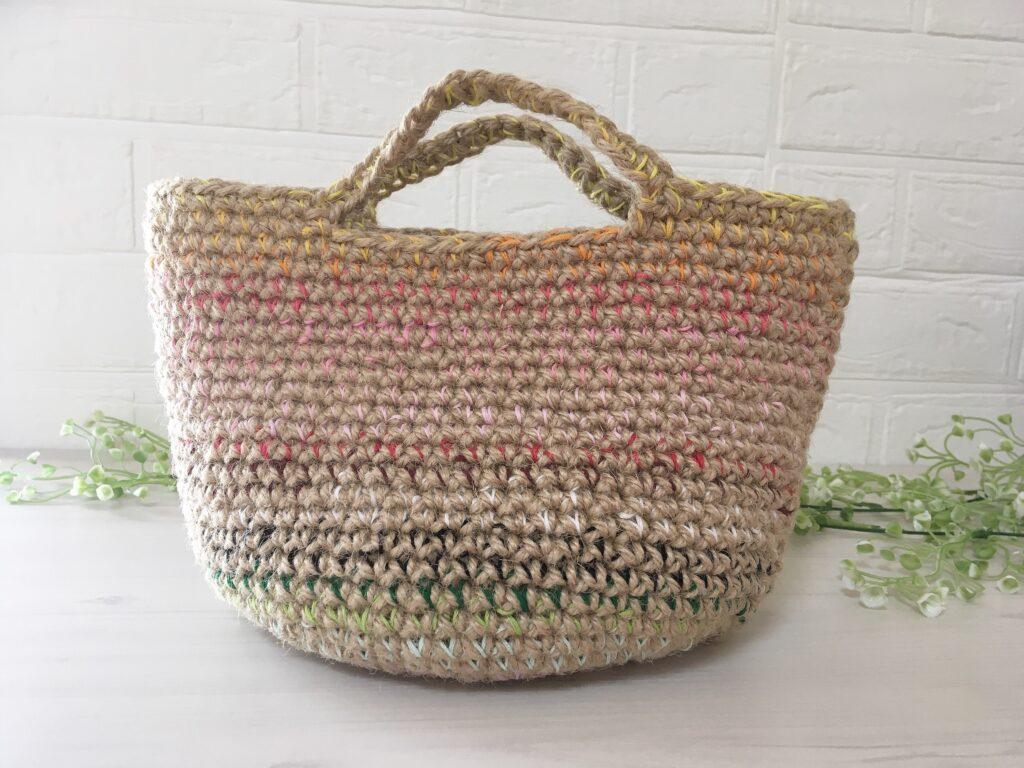 麻ひもと刺繍糸のマルシェバッグ