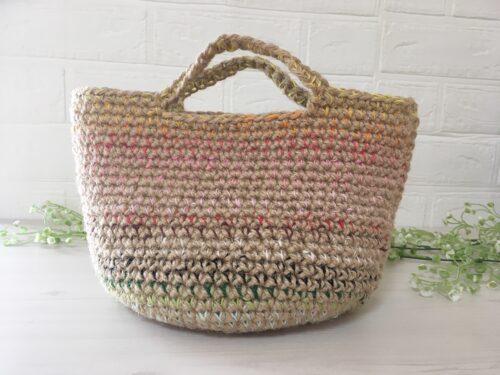 麻ひもと刺繍糸のミニマルシェバッグ