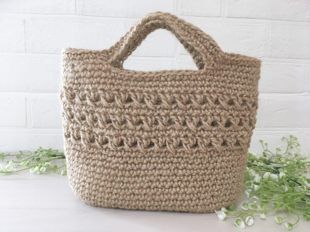 麻ひもでカゴバッグを編みました