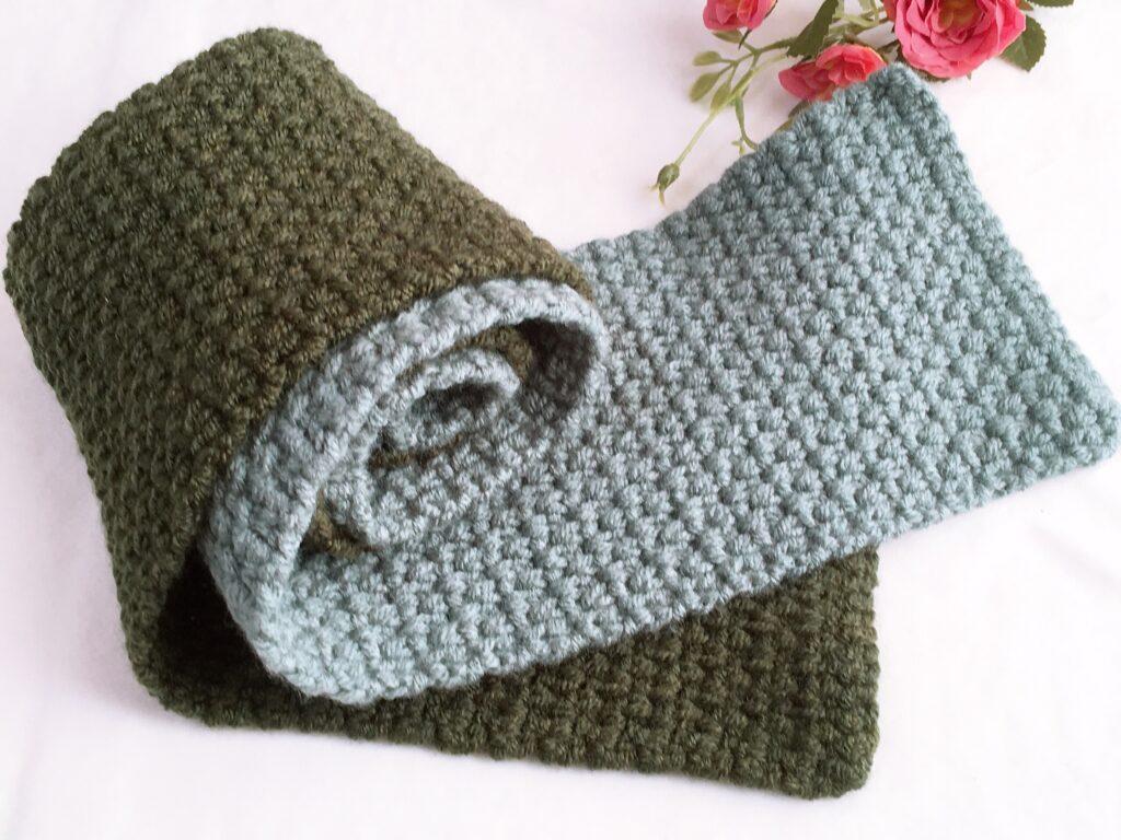 鎖編みと細編みだけで編める!「模様編みのマフラー」