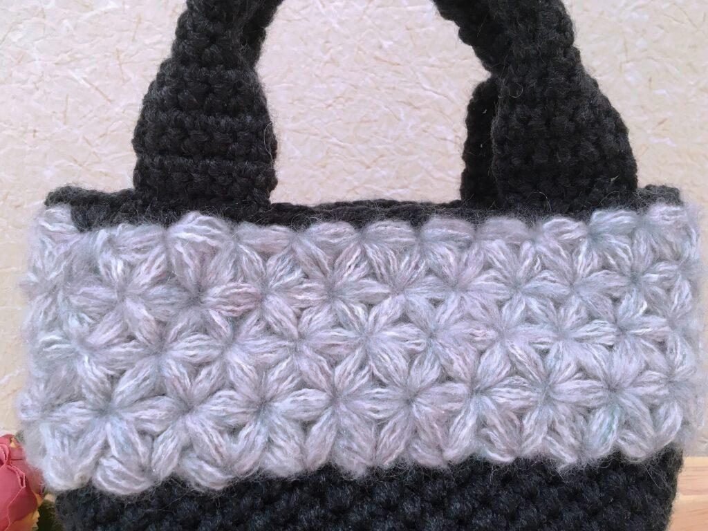 メランジテイスト2021秋冬毛糸ダークネイビーで編んだマルシェバッグ