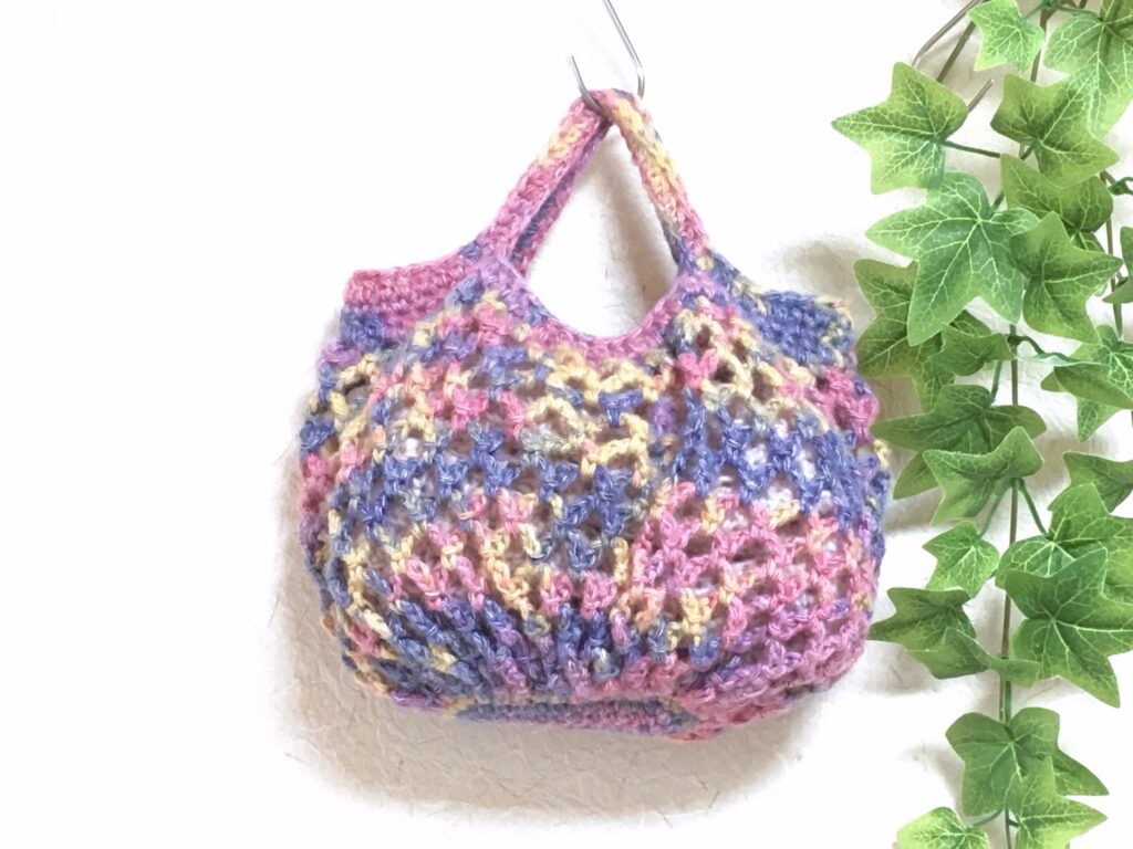 """""""ころん""""とかわいいネット編みバッグ♪「簡単」に編めます"""