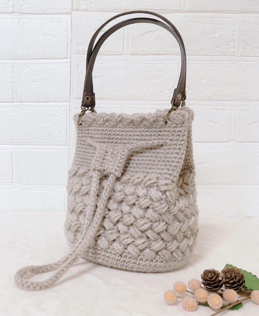 メランジテイスト2021秋冬毛糸でで編んだバケツ形巾着バッグ