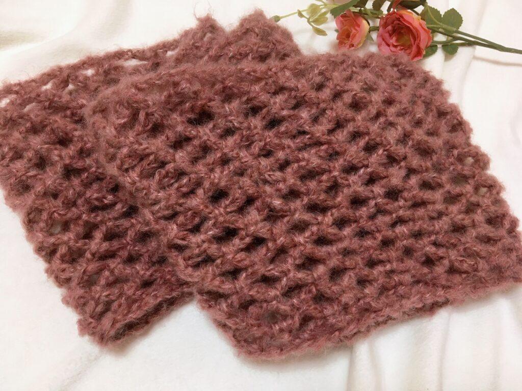 サクサク編める♪ネット編みのふんわりスヌード