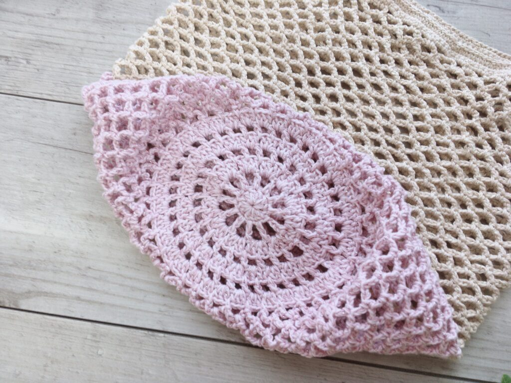 かぎ針で編んだ大きめのネット編みエコバッグの底