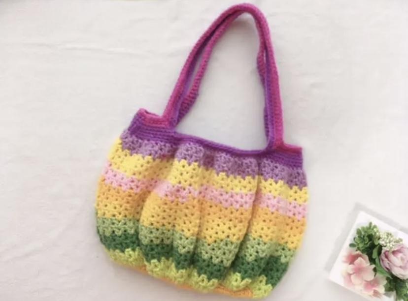 カボチャパンツみたいな超可愛いギャザーバッグを編みました♡