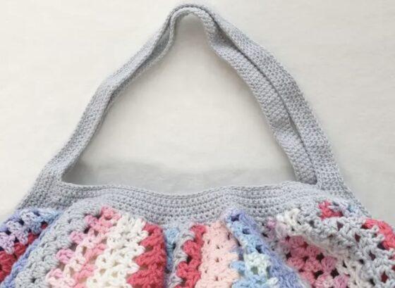 あまり糸で編んだグラニーバッグの持ち手