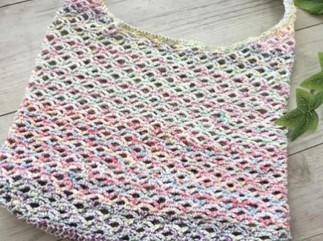 かぎ針で編んだWネット編みのエコバッグ